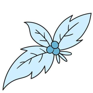 Winter leaf emoticon. doodle icon image icon