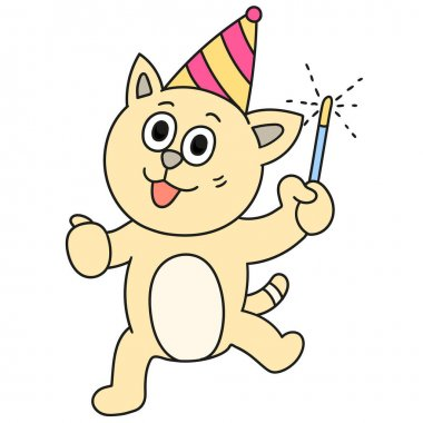Cat celebrating new year party. doodle icon image icon