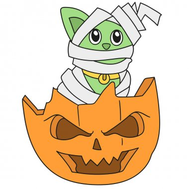 Halloween party with mummy and pumpkin decorations. doodle icon image icon