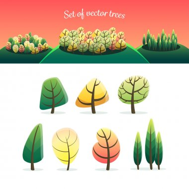 Set of vector different trees stock vector