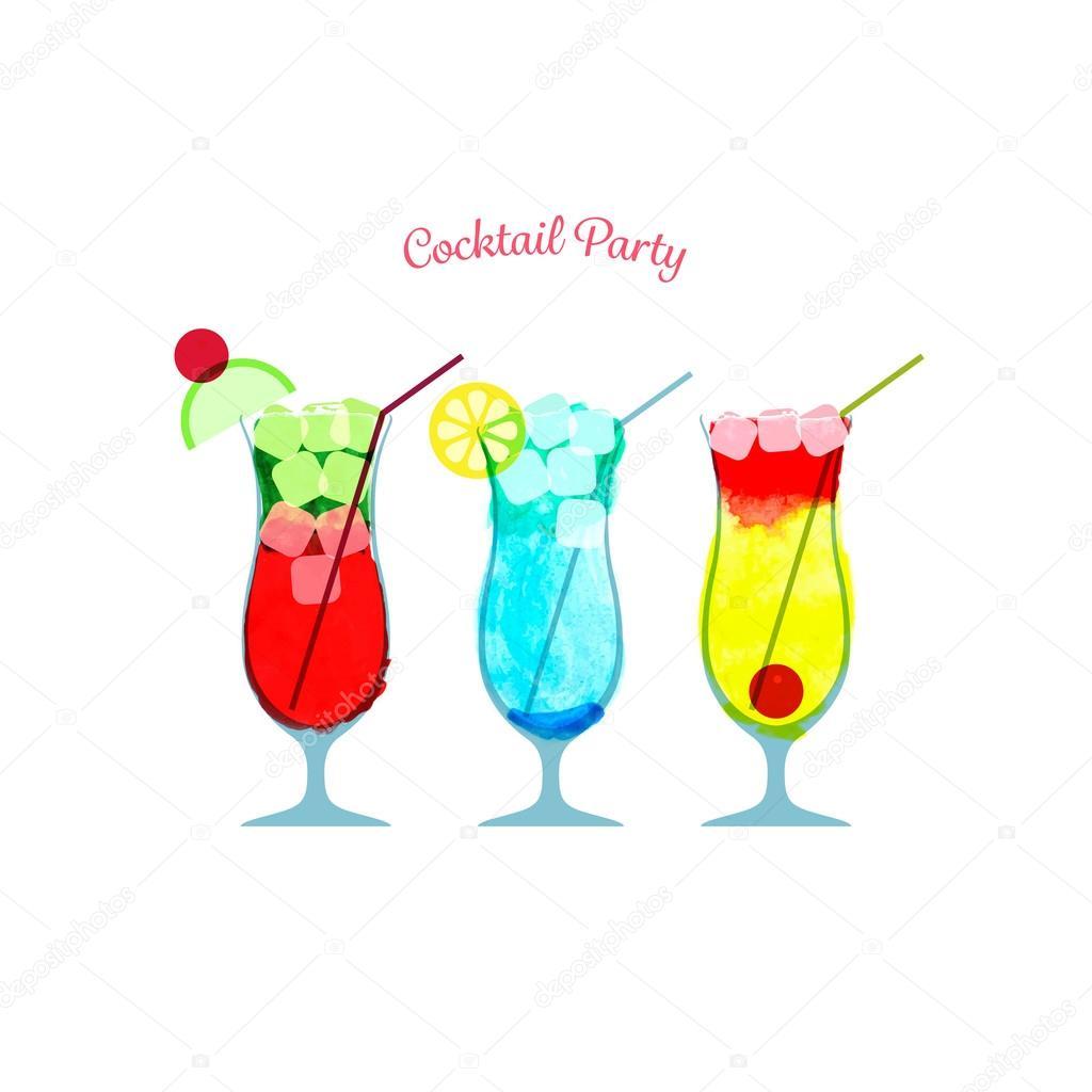 Aquarell-cocktail-Party-Vorlage — Stockvektor © maxicam #74758415