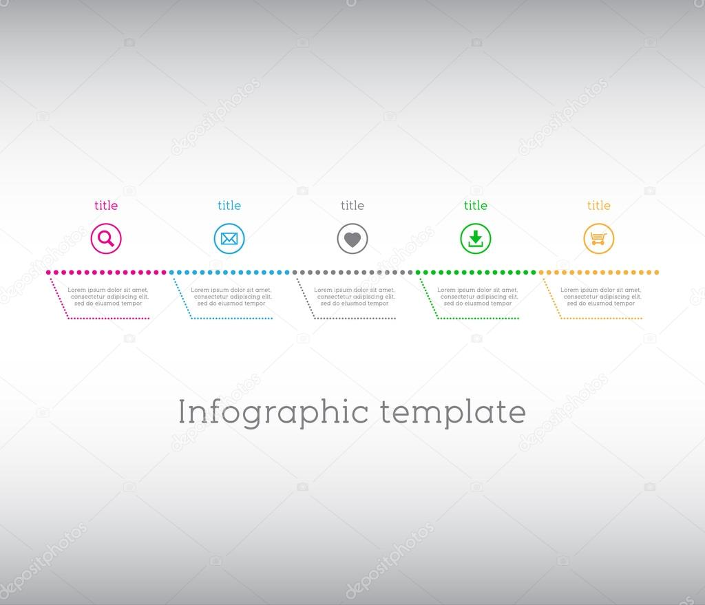 infographic template simple timeline with icons stock vector