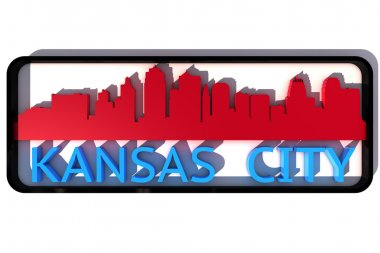 Kansa City USA logo with the base colors of the flag of the city on white 3D design