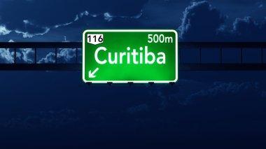 Curitiba Brazil Highway Road Sign at Night