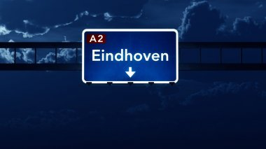 Eindhoven Netherlands Highway Road Sign at Night