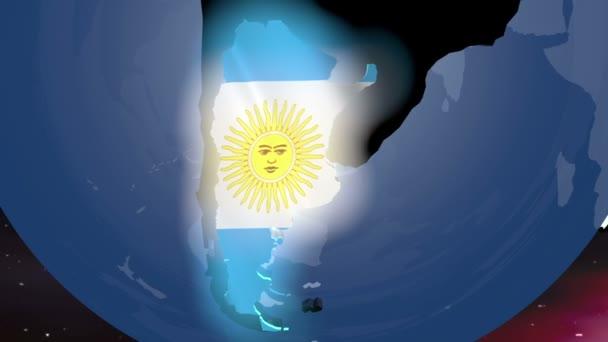 Argentinien mit Flagge auf der Weltkarte