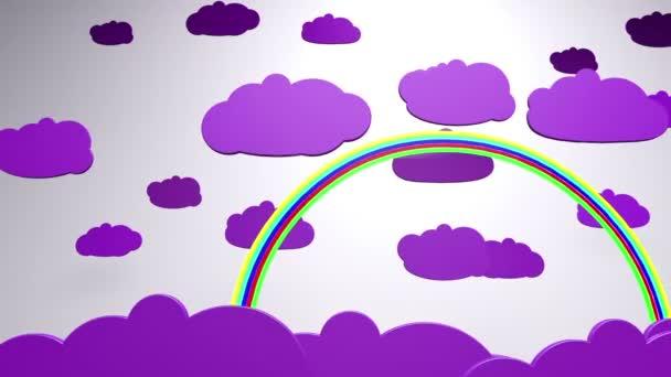 kreslený mraky a rainbow