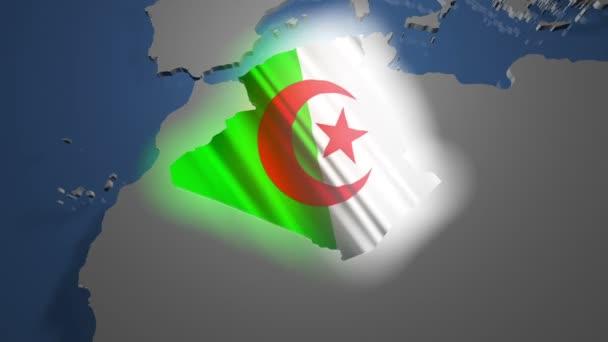 Algeria with flag on world map
