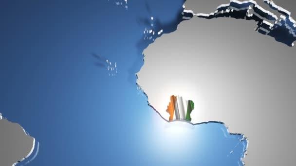 Ivory Coast with flag on world map