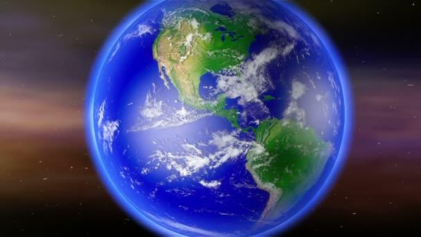 Earth Zoom do Severní Ameriky na zeměkouli