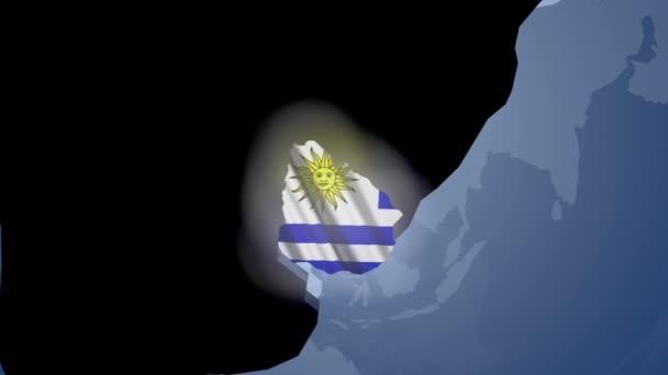 Uruguay s vlajkou na mapě světa