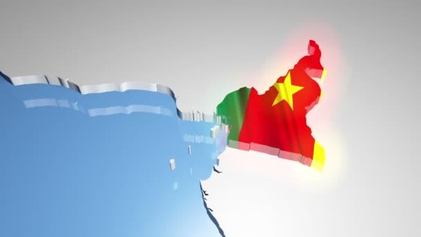 Kamerun s vlajkou na mapě světa