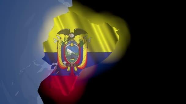 Ecuador with flag on world map