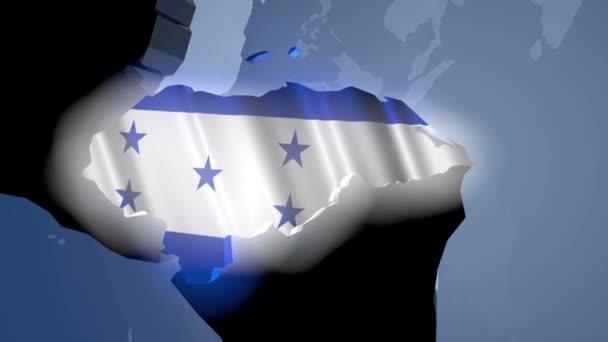 Honduras s vlajkou na mapě světa