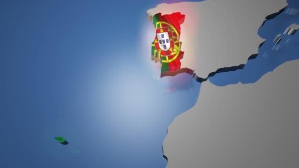 Portugal mit Flagge auf der Weltkarte