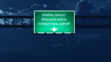 Hermosillo Mexico Airport Highway Road Sign at Night