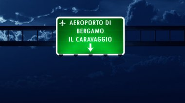 Bergamo Italy Airport Highway Road Sign at Night
