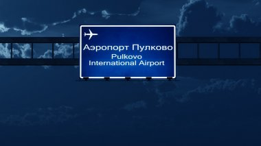 Saint Petersburg Pulkovo Russia Airport Highway Road Sign at Nig
