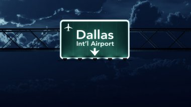 Dallas Forth Worth USA Airport Highway Sign at Night