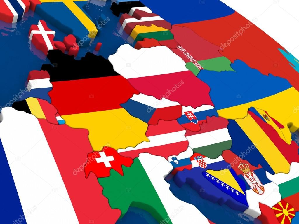 Central Europe on 3D map with flags — Stock Photo © tom.griger ...