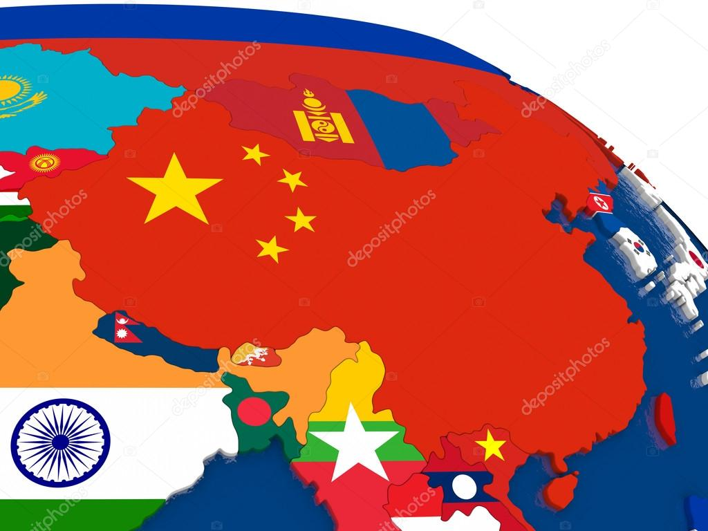 china on 3d map with flags ストック写真 tom griger 114246862