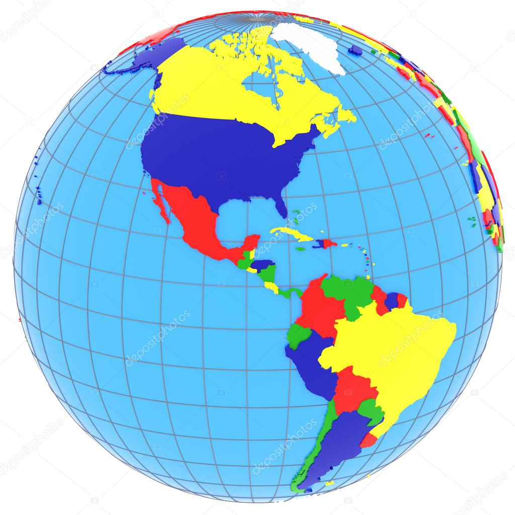 South and North America on the globe Stock Photo tomgriger