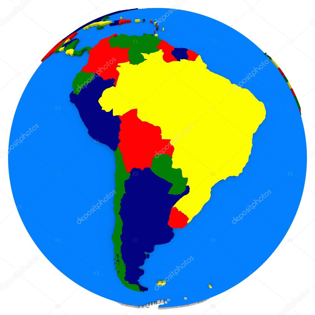 south America on Earth political map — Stock Photo © tom.griger ...