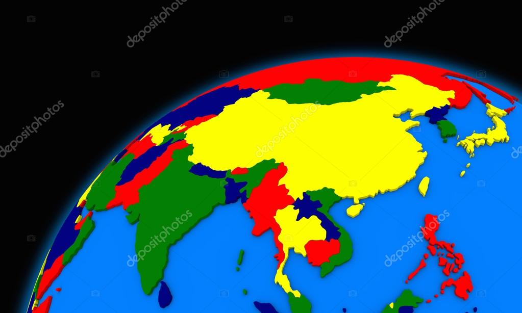 southeast asia on planet earth political map stock photo