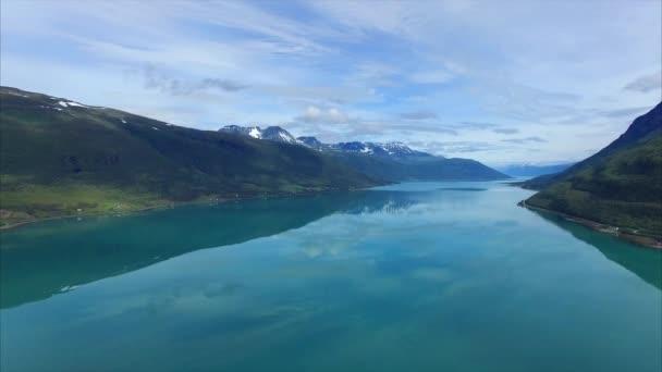 Lyngen fjord in Norway from air