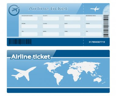 Airline ticket isolated on white background. Illustration. Vector stock vector
