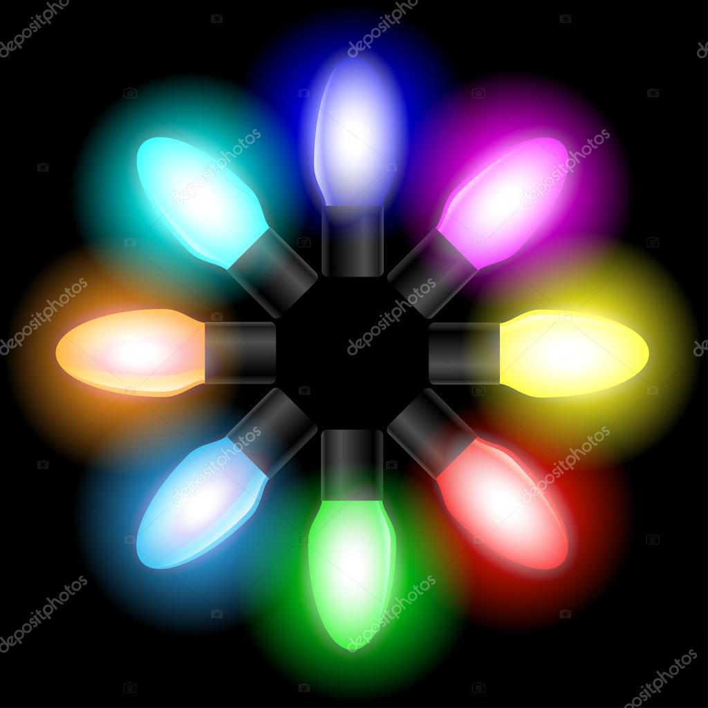 Bombillas de luz de color Navidad — Archivo Imágenes Vectoriales ...