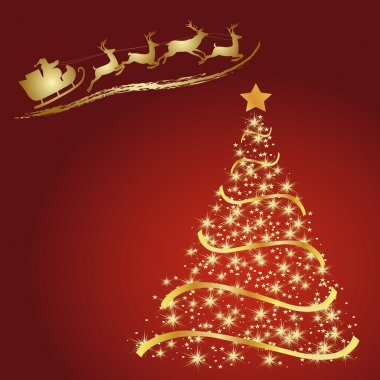 Santa with reindeer, Golden fir on a red background, Christmas tree vector