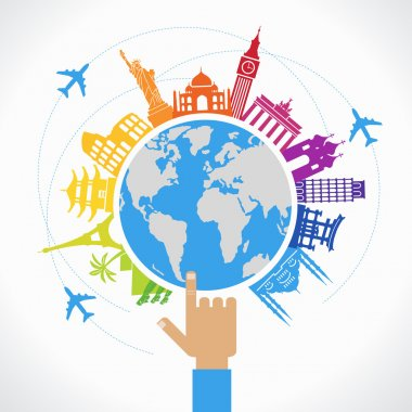 globe with Famous international landmarks