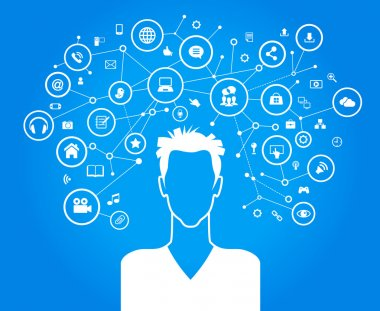 Avatar of man surrounded by network icons