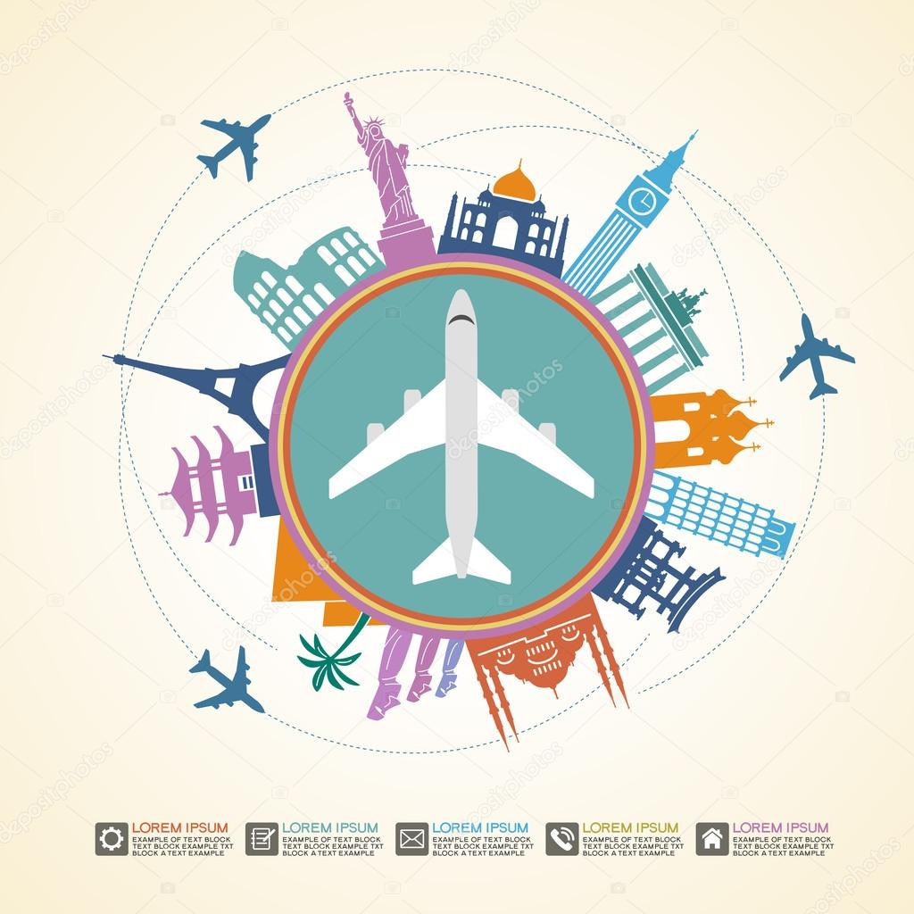 Słynne zabytki międzynarodowych wokół samolotu — Grafika ...