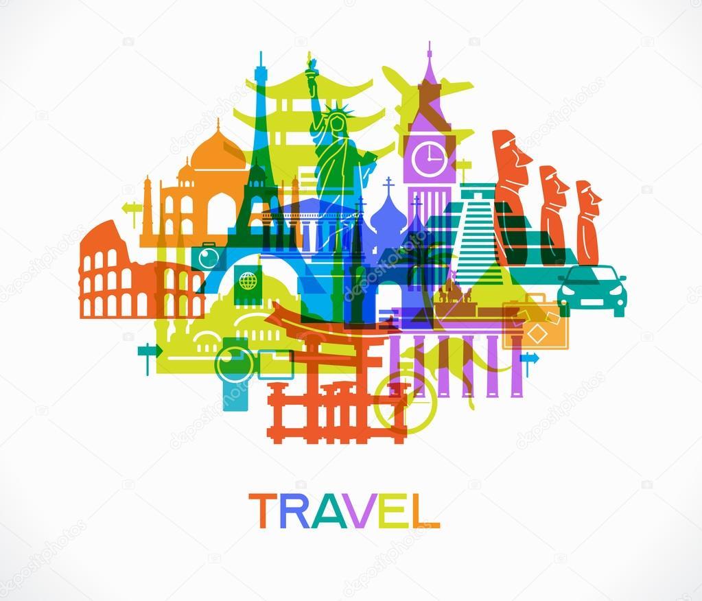 Famous international landmarks icons