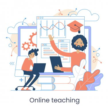 Webinar, Digital classroom, Online teaching, Internet classes. Online learning metaphors. Educational webinar. Online teacher. Digital class. Graphic elements set. icon