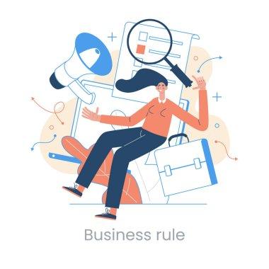 Enterprise strategy development concept. Big data analytics. Business Intelligence. Business rule. Data management abstract metaphor. Vector illustration set. Application software. icon
