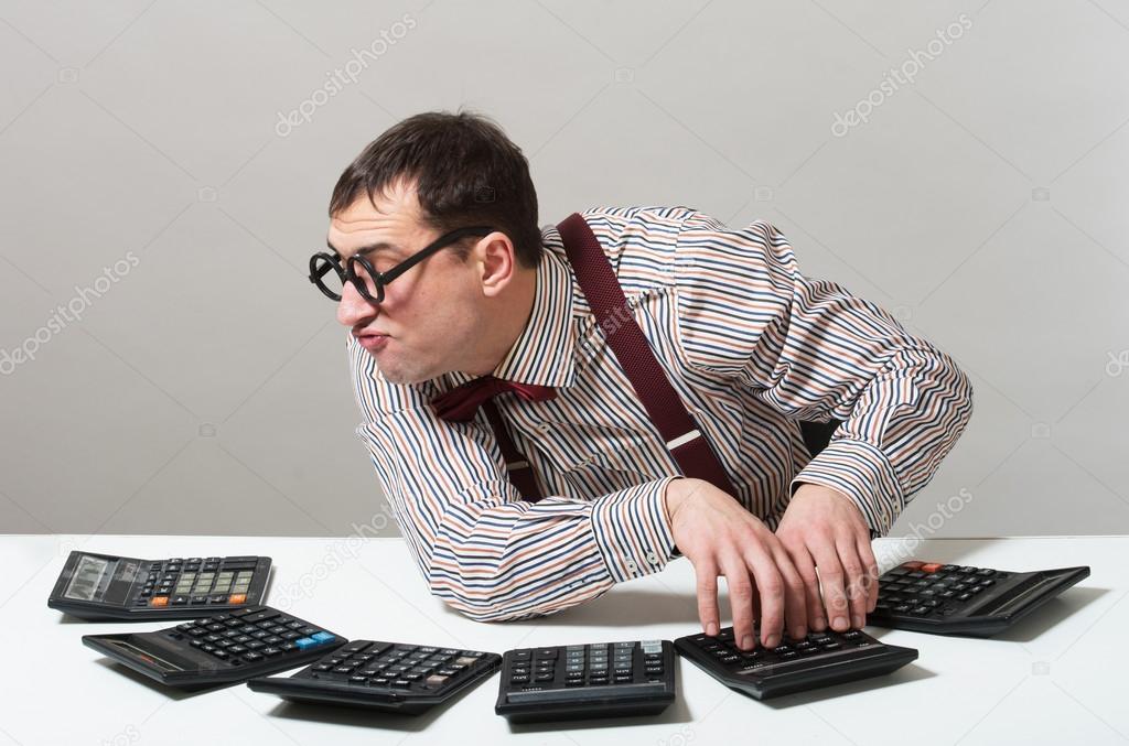 Funny accountant — Stock Photo © rod_julian #82447804