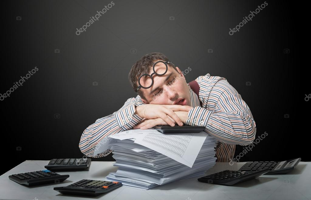 Tired accountant
