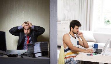 Office work vs freelance, concept