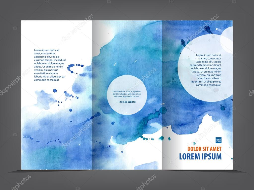 Vector Empty Trifold Brochure Template Print Blank Watercolor - Brochure trifold template