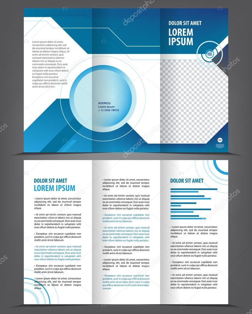 Diseño impresión plantilla vector triple vacío, folleto azul ...