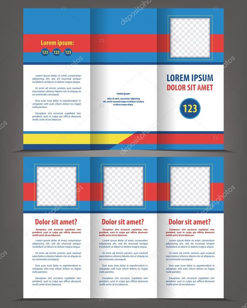 plantilla de impresión de diseño de folleto de triple — Vector de ...