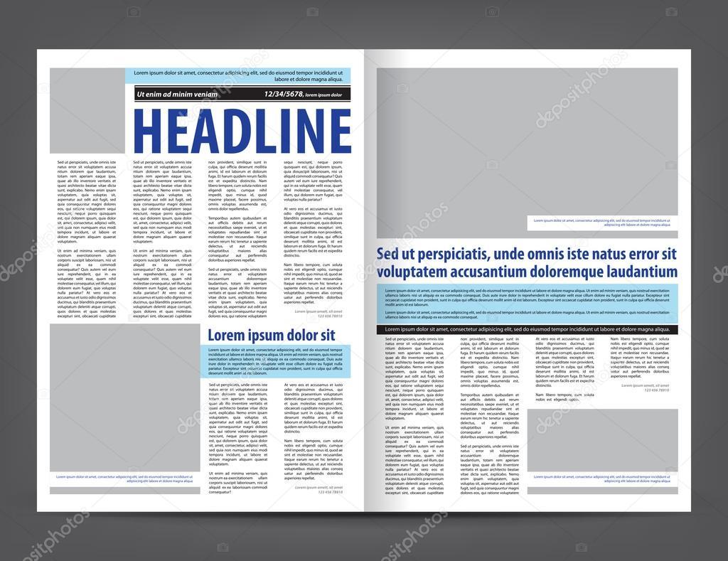 diseño de plantillas de impresión de periódico vacío — Vector de ...