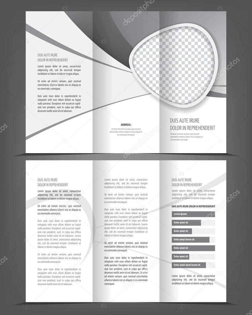 tri-fold grayscale booklet or flyer — Stock Vector © IrinaWW #86327868
