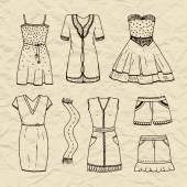 Set of  outline dresses, scarf, skirt, shorts.