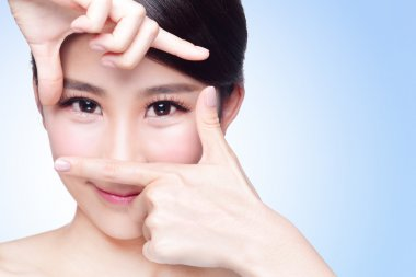 Woman face and eye care