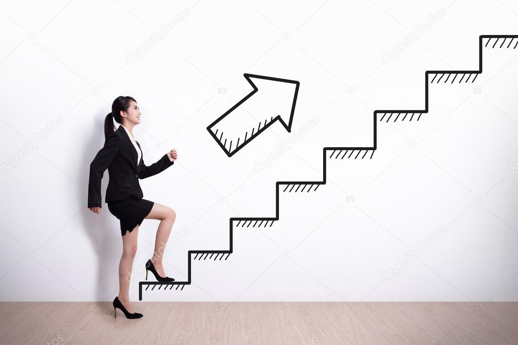 business woman with stair