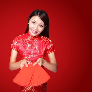 Woman holding red envelope